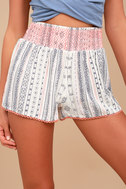 Welcome to Paradise Cream Print Shorts 1