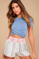 Welcome to Paradise Cream Print Shorts 2
