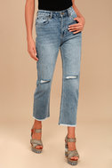Amuse Society Jennings Medium Wash Distressed High-Waisted Jeans 2