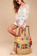 Vacay Today Tan Oversized Woven Tote Bag 1
