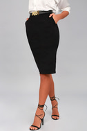 Daily Wonder Black Bodycon Midi Skirt 4