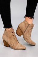 Coconuts Ally Natural Nubuck Cutout Ankle Booties 5