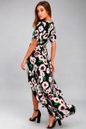 Flower Market Black Floral Print High-Low Wrap Dress 8