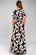Flower Market Black Floral Print High-Low Wrap Dress 9