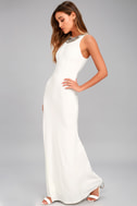 Pledging My Love White Beaded Maxi Dress 2