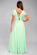 World on a String Mint Green Lace-Up Maxi Dress 3