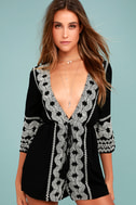 Kailua Black and White Embroidered Romper 2
