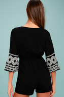 Kailua Black and White Embroidered Romper 3