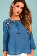Harmony Hues Blue Embroidered Long Sleeve Top 2