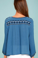 Harmony Hues Blue Embroidered Long Sleeve Top 3