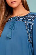 Harmony Hues Blue Embroidered Long Sleeve Top 5
