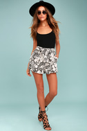 Up the Coast Beige Floral Print Shorts 2