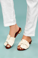 Winnie Gold and White Knotted Slide Sandals 5