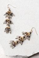 Swing Dance Gold Beaded Earrings 2
