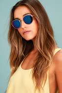 Perverse Lainey Gold and Blue Mirrored Sunglasses 1