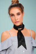 New Friends Colony XOXO Black Silk Choker Necklace 3