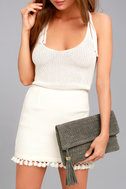Leave it to Me Grey Clutch 1