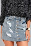 To The Rhythm Light Wash Distressed Denim Mini Skirt 4