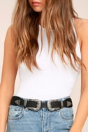 Fleur-Ever and Ever Black and Silver Double Buckle Belt 5
