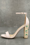 Fawna Nude Suede Embroidered Ankle Strap Heels 1