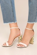 Fawna Nude Suede Embroidered Ankle Strap Heels 6