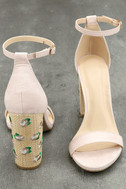 Fawna Nude Suede Embroidered Ankle Strap Heels 3