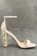 Fawna Nude Suede Embroidered Ankle Strap Heels 2