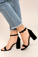 Audrina Black Suede Ankle Strap Heels 2