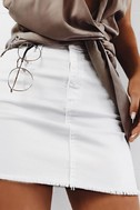 Pop and Lock White Denim Mini Skirt 5