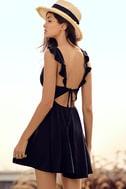 Sweeter Than Sugar Black Backless Skater Dress 7