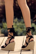 Cali Black Suede Lace-Up Espadrille Wedges 5
