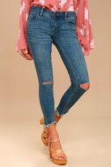 Free People Destroyed Ankle Dark Wash Skinny Jeans 2