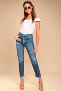 AGOLDE Jamie High Rise Medium Wash Distressed Cropped Jeans 1