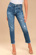 AGOLDE Jamie High Rise Medium Wash Distressed Cropped Jeans 2