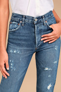 AGOLDE Jamie High Rise Medium Wash Distressed Cropped Jeans 4