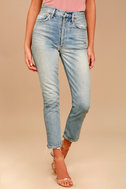 AGOLDE Riley High Rise Light Wash Distressed Straight Leg Jeans 2