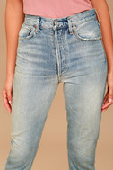AGOLDE Riley High Rise Light Wash Distressed Straight Leg Jeans 4