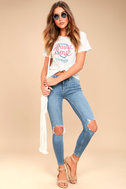 Free People High Rise Busted Light Wash Distressed Skinny Jeans 1