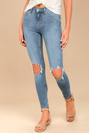 Free People High Rise Busted Light Wash Distressed Skinny Jeans 2