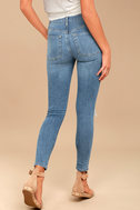 Free People High Rise Busted Light Wash Distressed Skinny Jeans 3