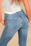 Free People High Rise Busted Light Wash Distressed Skinny Jeans 4