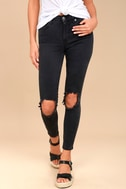 Free People High Rise Busted Black Distressed Skinny Jeans 2