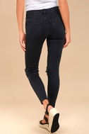 Free People High Rise Busted Black Distressed Skinny Jeans 3