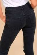 Free People High Rise Busted Black Distressed Skinny Jeans 4