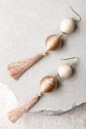 Palamino Beige Tassel Earrings 2