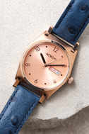 Nixon Jane Rose Gold and Blue Leather Watch 4