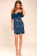 Bellissimo Blue Lace Off-the-Shoulder Bodycon Dress 2