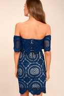 Bellissimo Blue Lace Off-the-Shoulder Bodycon Dress 3