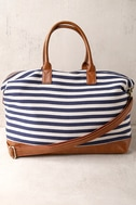 Jet Setter Cream and Navy Blue Striped Weekender Bag 2