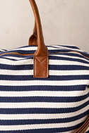 Jet Setter Cream and Navy Blue Striped Weekender Bag 3